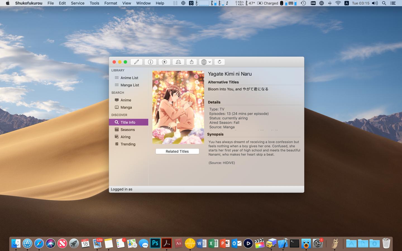Forum Thread: Shukofukurou - Native Mac/iOS App for AniList